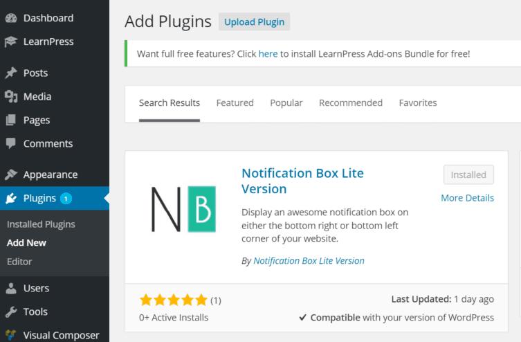 Notification Box Lite WordPress Plugin Add New
