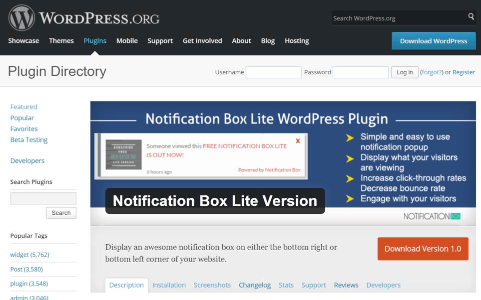 Notification Box Lite WordPress Plugin Directory