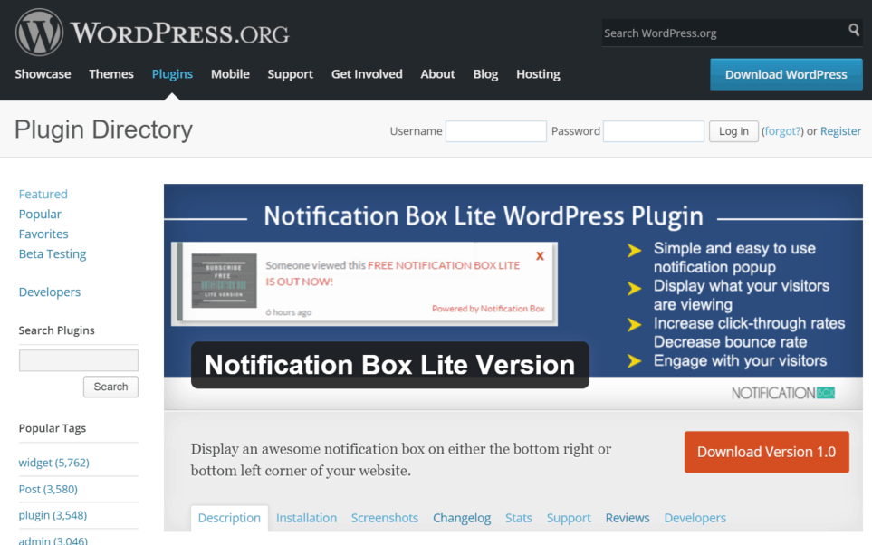 NOTIFICATION BOX LITE LIVE ON WORDPRESS PLUGIN DIRECTORY