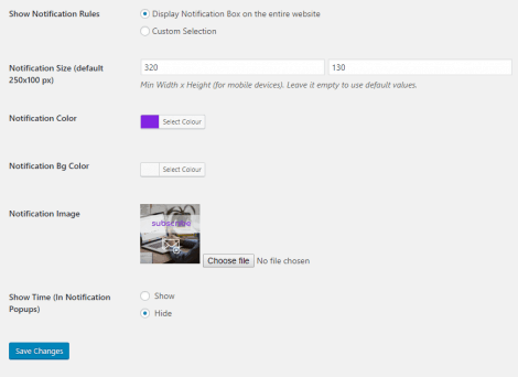 Notification Box - Newsletter Extension Plugin Settings 2