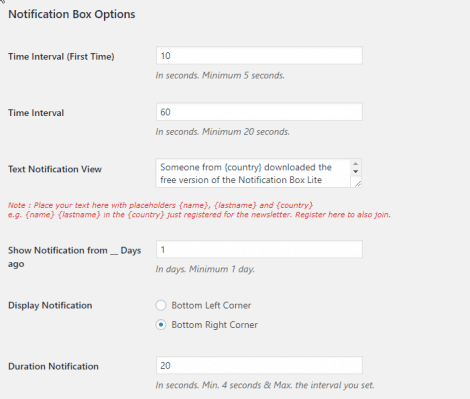 Notification Box Newsletter Extension Plugin Settings